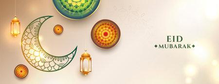 artistic eid mubarak festival banner design with decorative moon