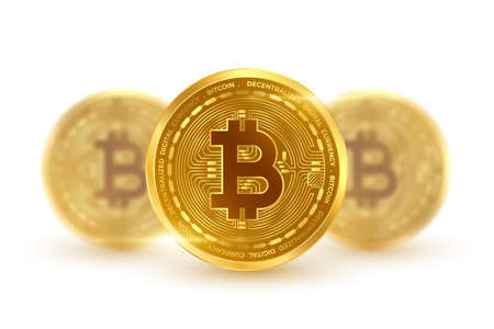 cryptocurrency bitcoin golden coin isolated in white background Vettoriali