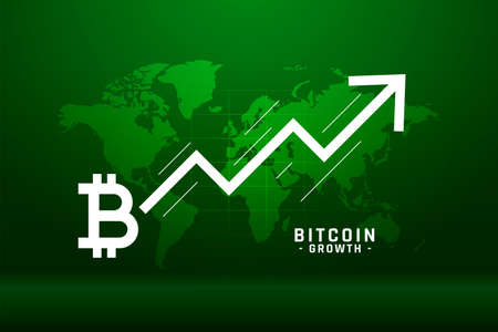 global bitcoin growth chart concept background