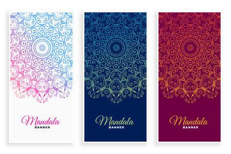 ethnic mandala style decorative banners set