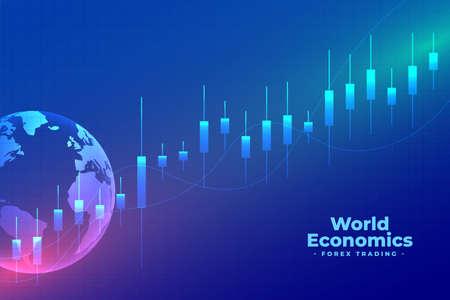 world economics forex trading blue background Vettoriali