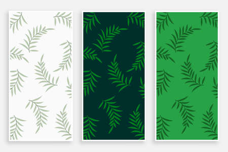leaves pattern vertical banners or label