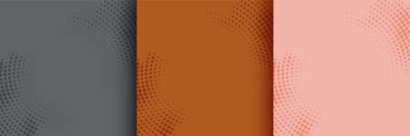 abstract circular halftone background set of three Vettoriali