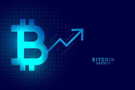 bitcoin growth graph chart in blue technology style