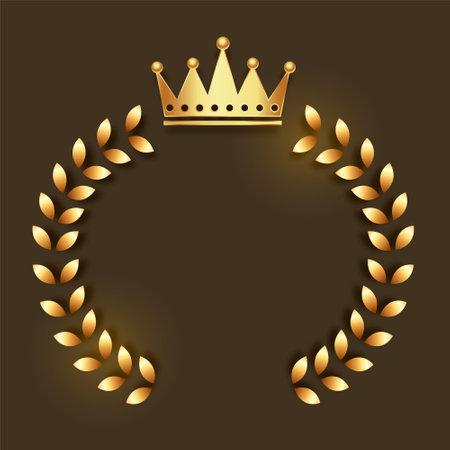 golden crown emblem with wreath frame Vettoriali