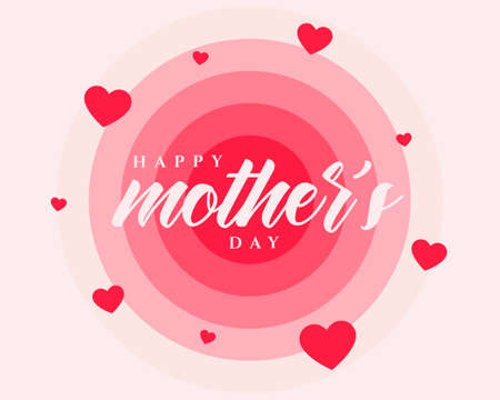 happy mothers day poster design with red hearts