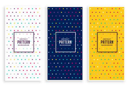 three polka pattern banners set Vettoriali