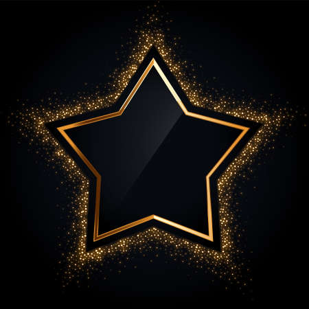 golden star frame with golden glitter