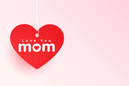 love you mom heart tag for mothers day Vettoriali