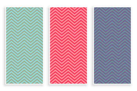 zig zag pattern set of three Vettoriali