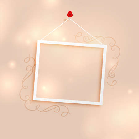 photo frame background with floral decoration Vettoriali