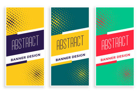 halftone abstract vertical banners sports style set