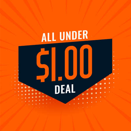 under dollar one deal and sale background Vettoriali