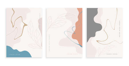 contemporary art posters set with fluid lines design Vettoriali