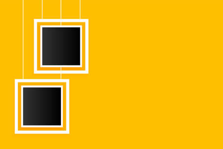 hanging photo frames on yellow background Vettoriali