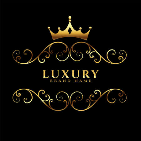 luxury icon concept with golden crown Vettoriali