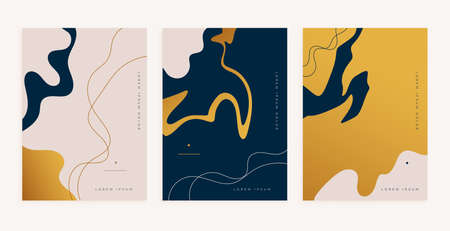 abstract golden fluid lines style minimal poster design Vettoriali