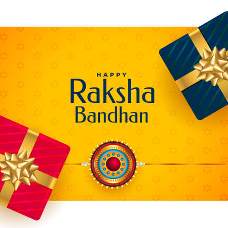 happy raksha bandhan rakhi festival greeting with gift boxes