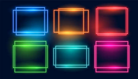 neon frames set of six in square and rectangle style