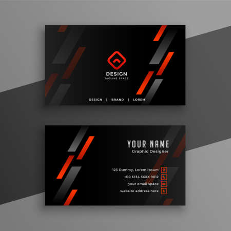 stylish black business card with red geometric lines design