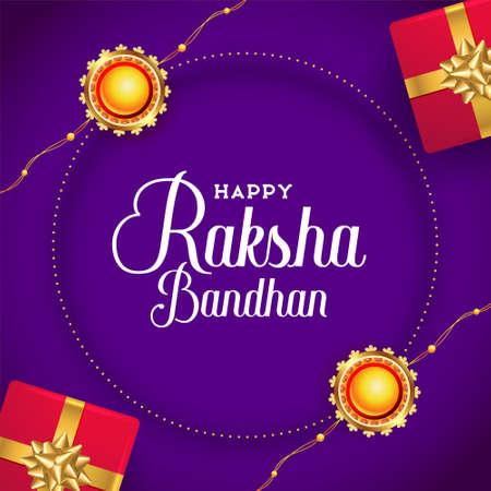 raksha bandhan wishes card with rakhi and gift boxes