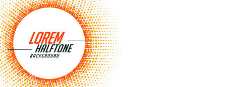 abstract halftone banner in orange circular style Vettoriali