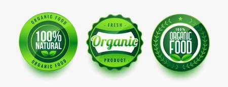 organic fresh food green labels set
