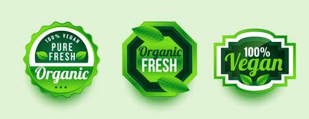 pure organic fresh product label design Vettoriali