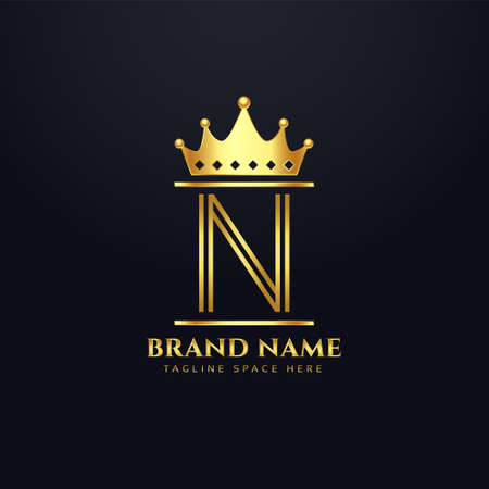 luxury brand  for letter N with crown