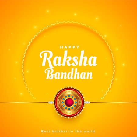 raksha bandhan traditional yellow greeting design Vettoriali