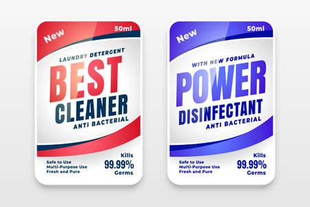 best cleaner powerful detergent label design Vettoriali