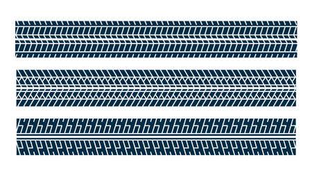 set of tire track print mark pattern