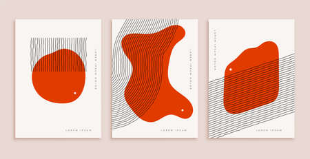 minimal hand drawn abstract poster for wall decoration in red color with lines