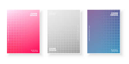 Colorful gradient covers with dots pattern design set