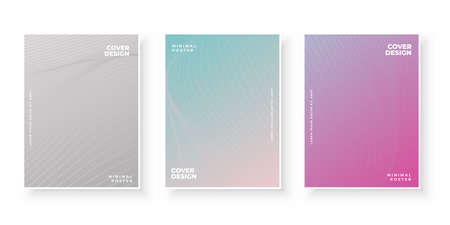 Colorful gradient covers with abstract line design set