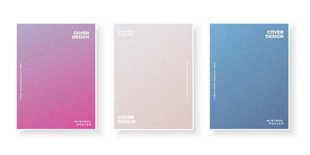 Colorful gradient covers with line pattern design set