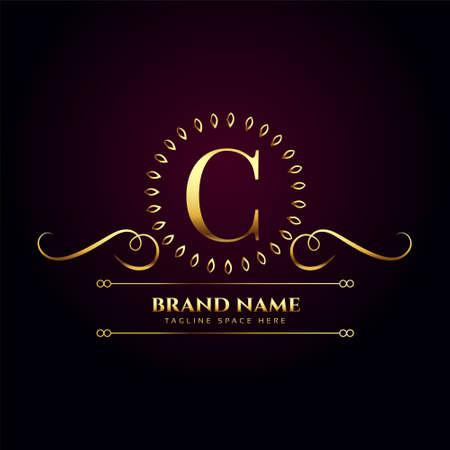 luxury royal golden  for letter C
