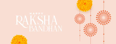 happy raksha bandhan traditional banner with flat rakhi and marigold flower