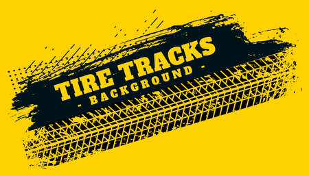 abstract tire track print mark on grunge background Vettoriali