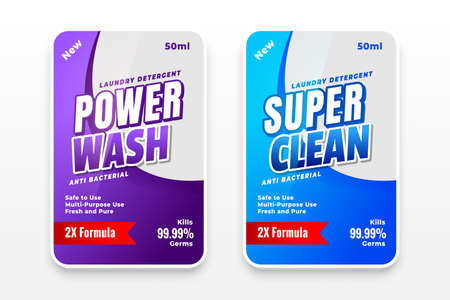 laundry detergent and disinfectant labels for your business Vettoriali