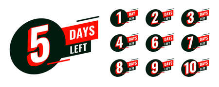 flat countdown timer with number of days left