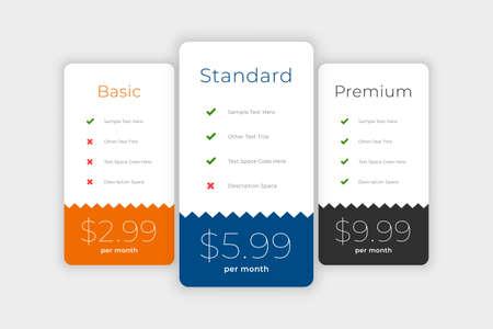 clean plans and pricing web comparison boxes