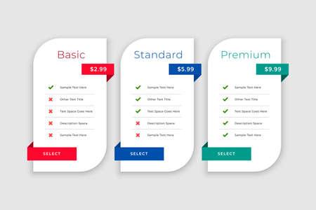 web pricing comparison boxes table template