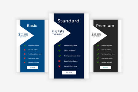 modern plans and pricing business table template Иллюстрация