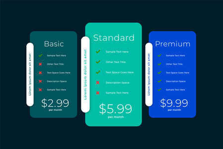 web comparison boxes of plans and pricing