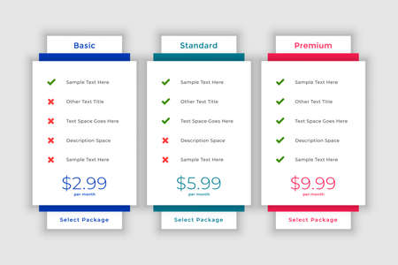 web modern pricing comparison table template Иллюстрация