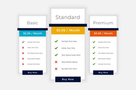 web pricing table elements comparison box