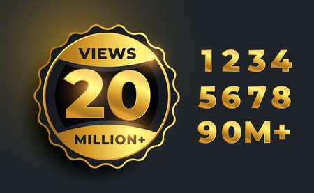 20 million video views golden label