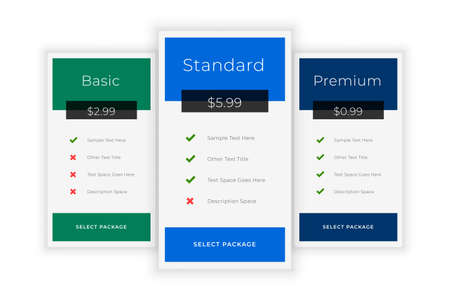 subscription plans and pricing table template Иллюстрация