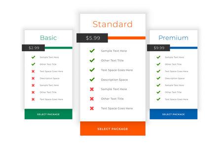web pricing table comparison boxes template